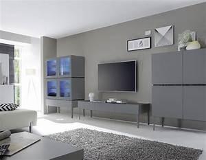 Meuble Tele Gris : ensemble de meuble de salle manger gris ou blanc laqu ~ Teatrodelosmanantiales.com Idées de Décoration