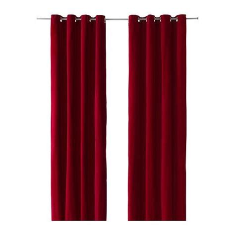 ikea sanela pair of curtains 118 drapes red 2 panels