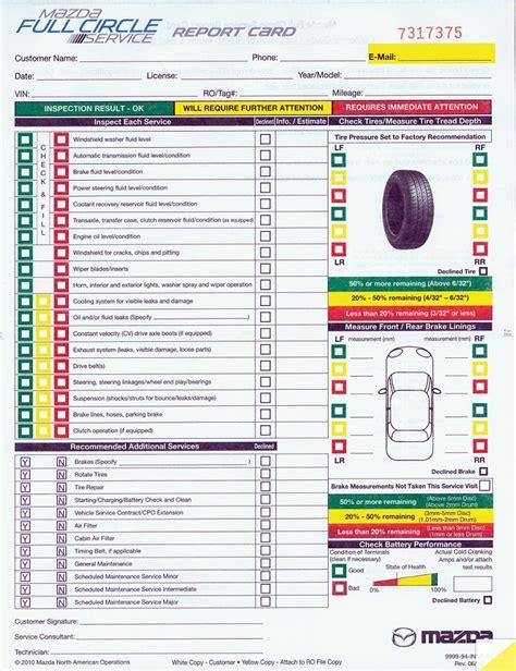 bureau inspection automobile multi point inspection form mazda