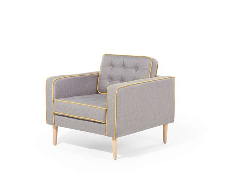 Living Room Armchair Grey Fabric Chair Tufted Yellow