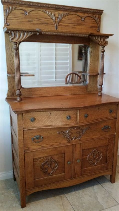 Antique Oak Sideboard Buffet With Mirror by Antique Quartersawn Tiger Oak Sideboard Buffet