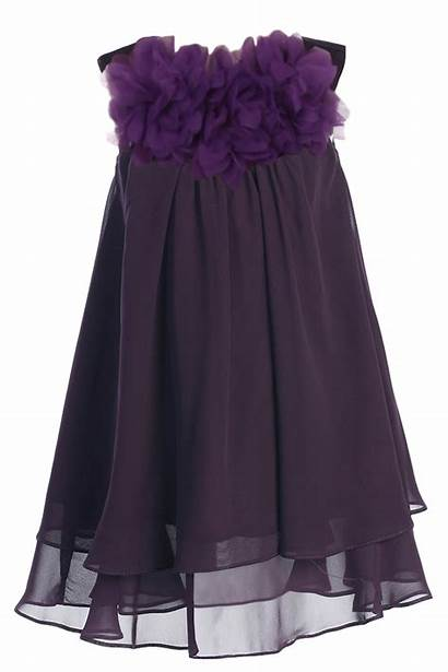 Purple Eggplant Chiffon Flower Shift Dresses Toddler