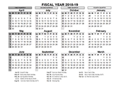 fiscal year calendar template printable  templates