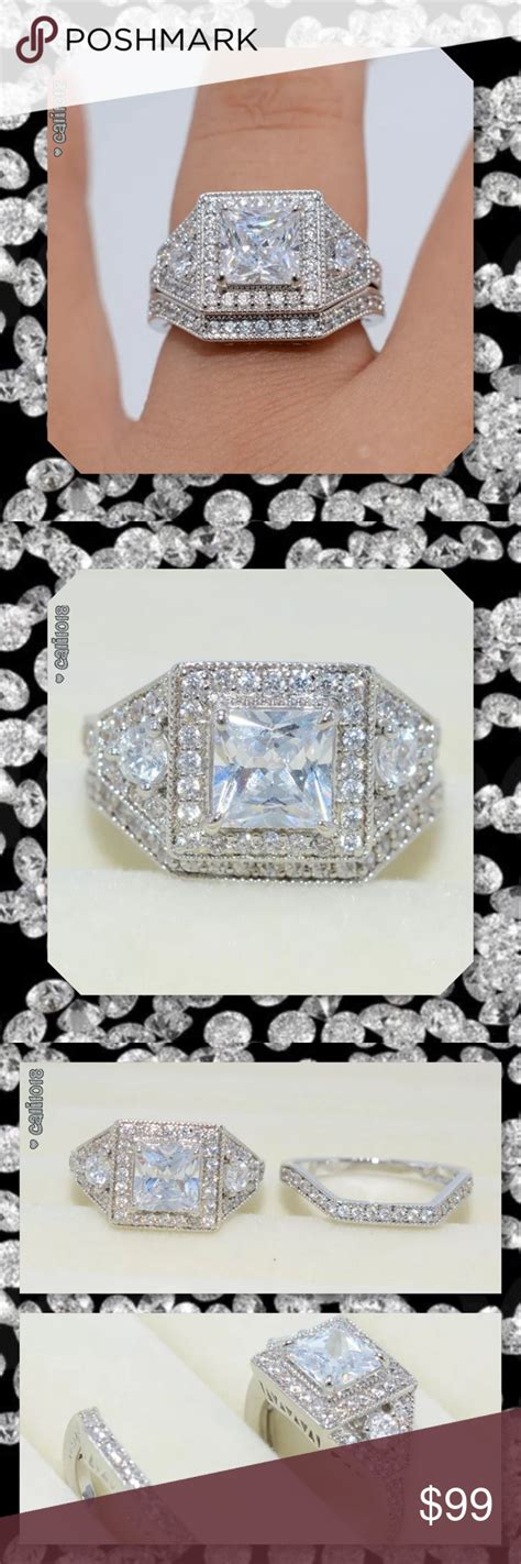 1hr sale no offers lowest 5 best seller 2pc new diamonique and cz 2pc white gold filled