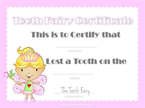 tooth fairy certificate customize  instant