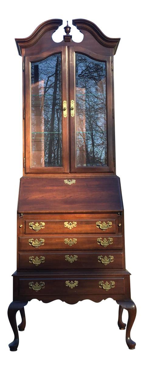 queen anne desk with hutch ethan allen queen anne style secretary desk chairish