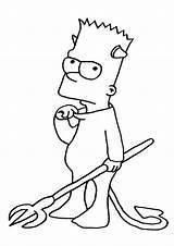 Coloring Simpsons Bart Devil Printable Parentune Worksheets sketch template