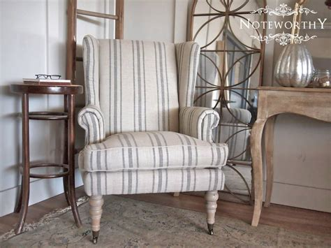gray striped linen wingback chair
