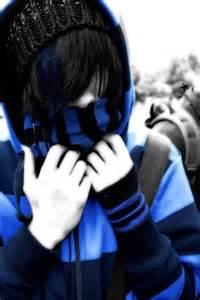 Emo Boy with Black Hair Blue Eyes