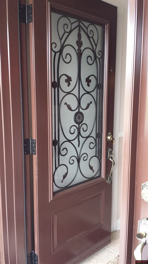Steel Door In Painted Finish With 2 Classic Wrought Iron
