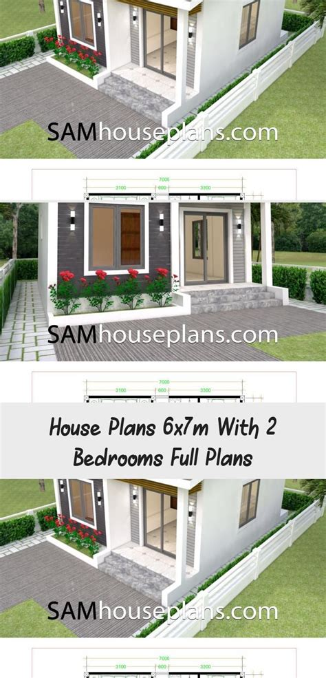 House Plans 6x7m With 2 Bedrooms Full Plans in 2020
