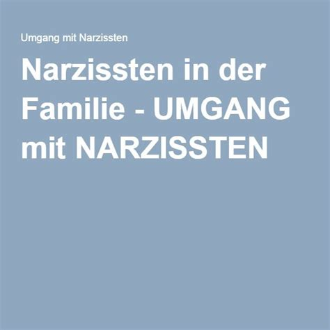 Narzissten in der Familie  UMGANG mit NARZISSTEN