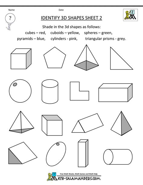 3d shape worksheets identify 3d shapes 2 gif 1000 215 1294