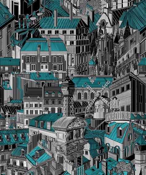 paris rooftops unique illustrative designer wallpaper