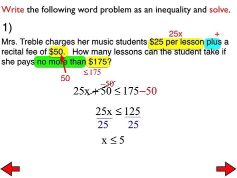 29a word problems with two step inequalities