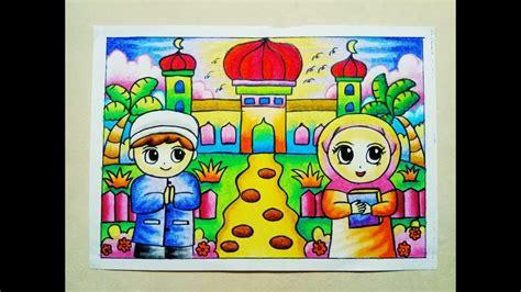 cara mewarnai gradasi crayon oilpastel pergi ke masjid