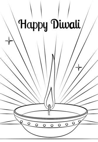 diwali diya coloring page  images diwali diya