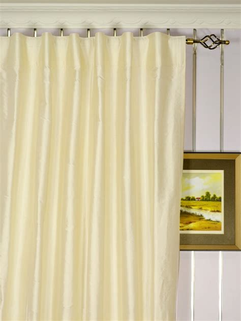 Back Tab Drapes by Oasis Traditional Solid Back Tab Dupioni Silk Curtains