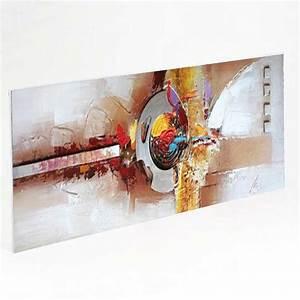 Tableau Metal En Relief : tableau contemporain 50x150 toile peinte et pi ce m tal en relief ~ Teatrodelosmanantiales.com Idées de Décoration