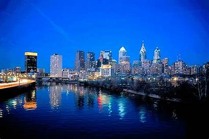 Night Skyline Philly Philadelphia Delaware Fb Independence