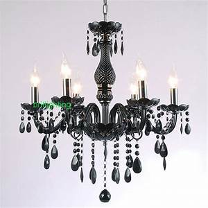 Black crystal chandelier modern interior lighting