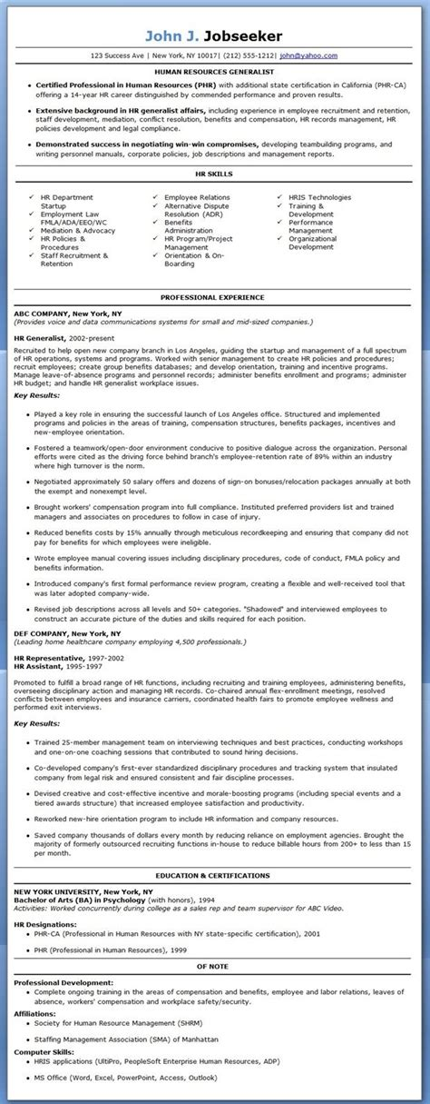 Hr Resume Sle by 15 Best Human Resources Hr Resume Templates Sles