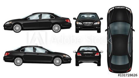 Black Car Vector Template. Business Sedan Isolated. The