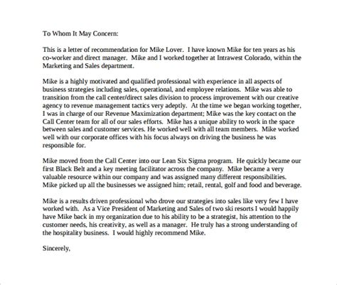 character letter  recommendation   sample