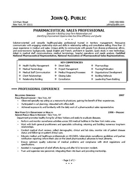 Pharma Sales Resume by Resume Sle Professional Resume Sle