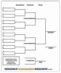 22 x 34 16 player single elimination tournament bracket With 6 team draw template