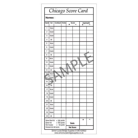 Chicago Scoring In Bridge Chicago Score Cards For Bridge Pad Of 100 Simon Lucas