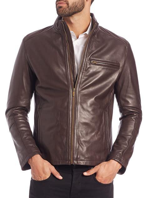 jacket moto cole haan leather moto jacket in brown for men lyst