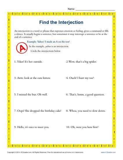 Find The Interjection  5th Grade Grammar Worksheets