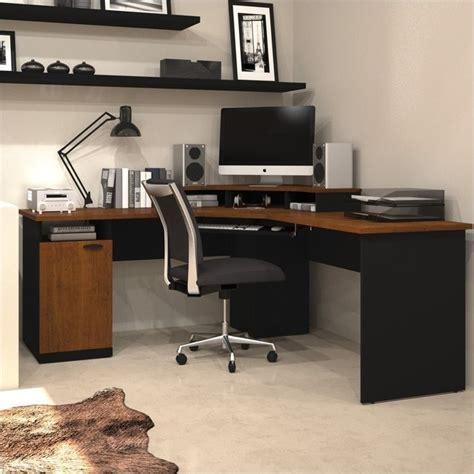 corner desk home office bestar hton wood home office corner tuscany brown
