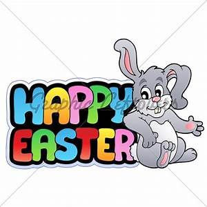 Happy Easter Sign With Happy Bunny · GL Stock Images