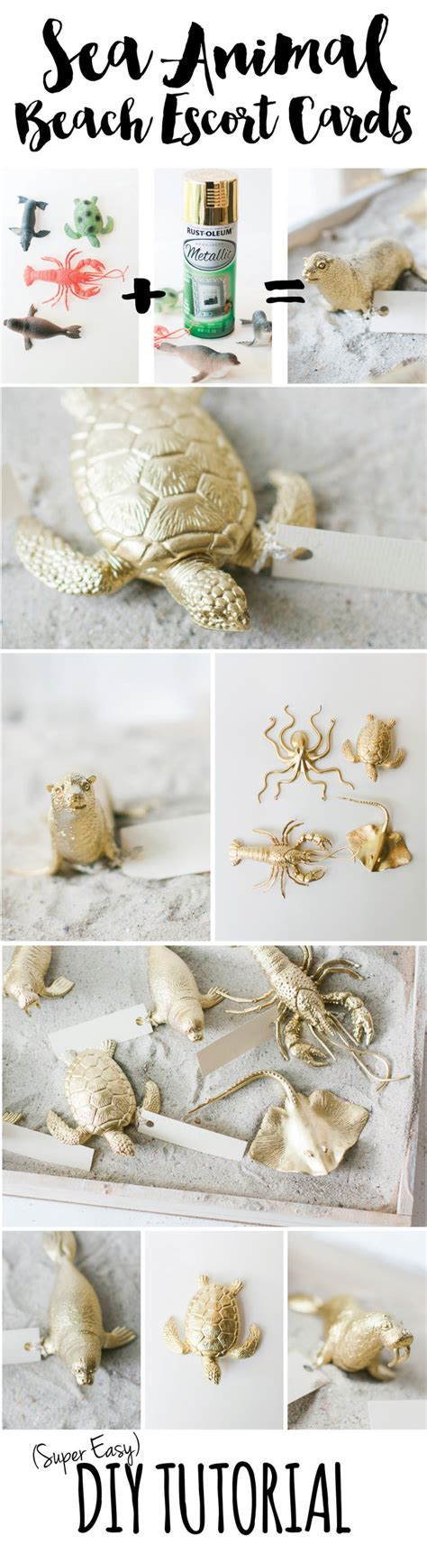 easy diy plastic sea animal beach wedding escort card tutorial