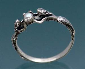two mermaids ring with pearl in sterling silver size 3 to 9 With mermaid wedding ring