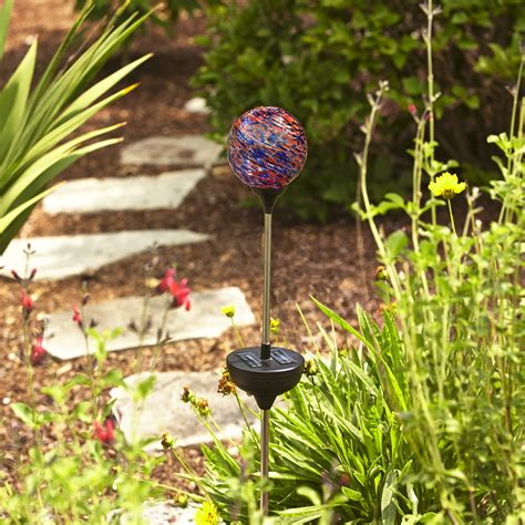 essential garden solar garden stake with gazing