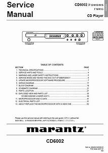 Marantz Cd6002 Service Manual    Marantz Cd  Dvd  Blu