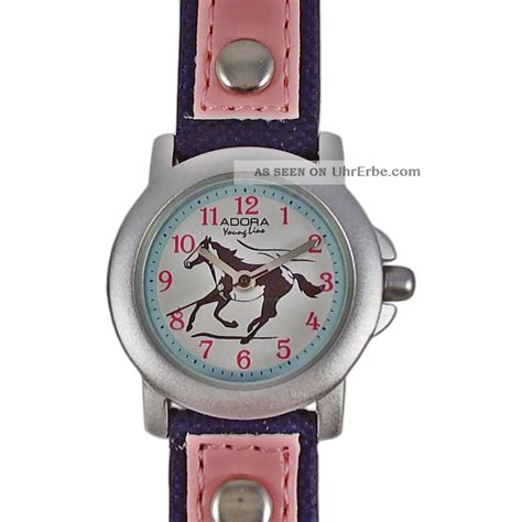 kinderuhr blau pink rosa pferd lederarmband nylon