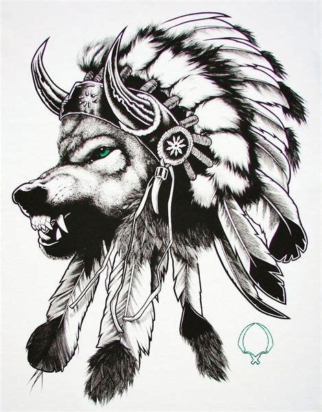 wolf   indian headdress tattoo   simple