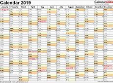 2019 Calendar Excel Excel Calendar 2019 Uk 16 Printable