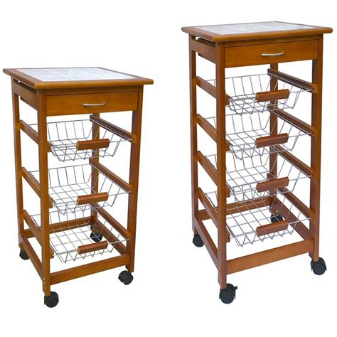 Temporary Drawers by 3 4 Tier Kitchen Trolley Brown Cart Basket Storage Drawer