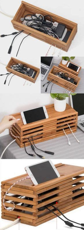 bamboo wooden charge cable organizer ipad cell phone