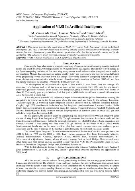 Application of VLSI In Artificial Intelligence (PDF