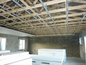 Faux Plafond Placo Sur Rail : plafond rail et placo construction maison sp ~ Melissatoandfro.com Idées de Décoration