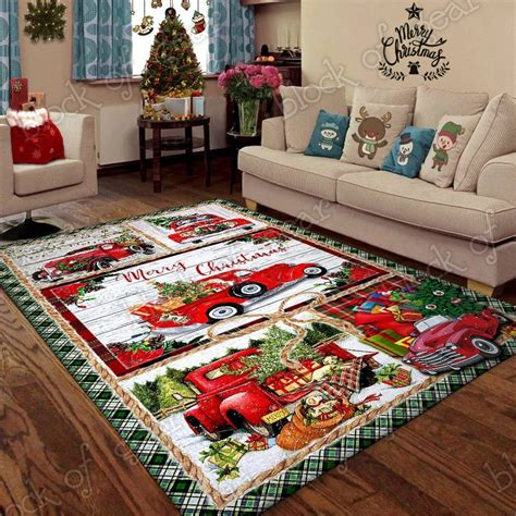 red truck merry xmas clmdr rug  images red