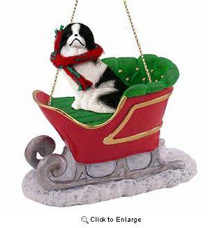 japanese chin sleigh ride christmas ornament black white animaldencom