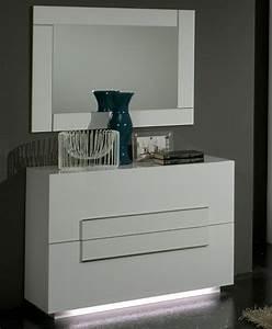 Commode Blanc Laqué : commode 2 tiroirs city laque blanc chambre coucher ~ Teatrodelosmanantiales.com Idées de Décoration