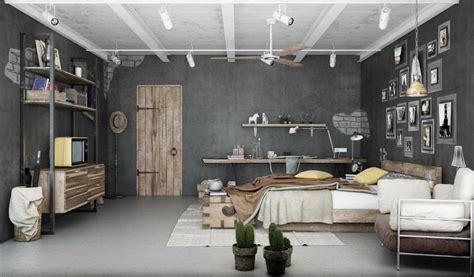chambre style industrielle industrial bedroom 3d artwork by blalank studio ideasgn